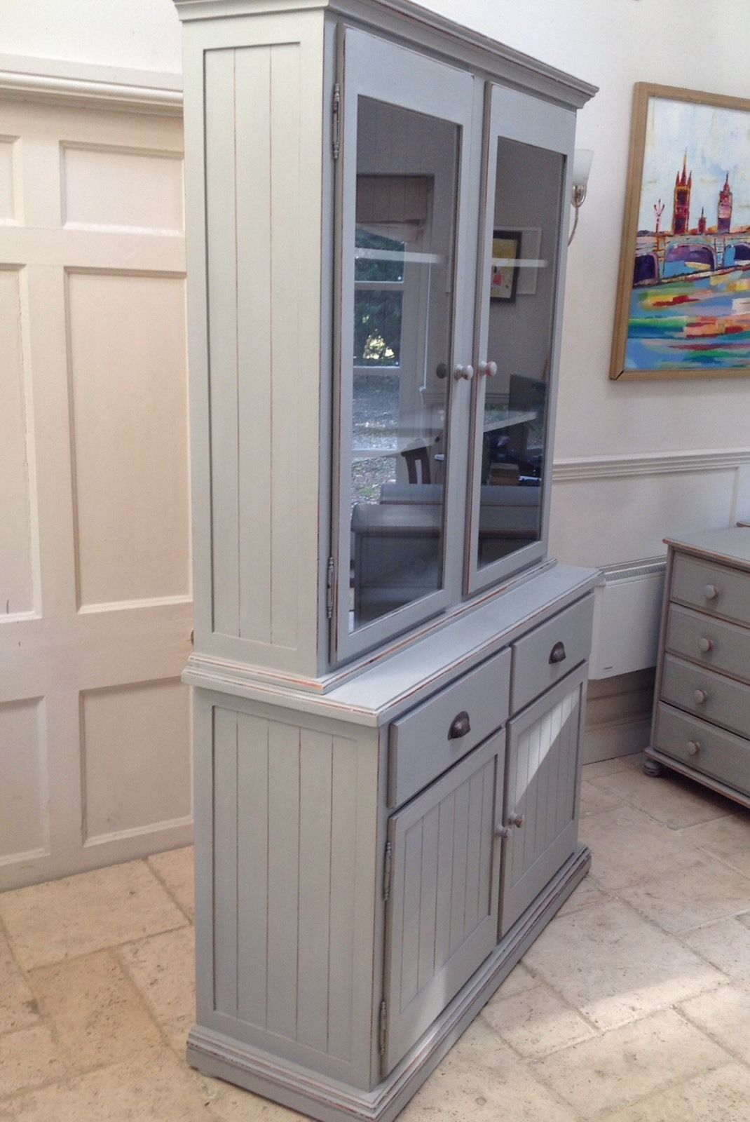 Kitchen Bookcase Grey Glazed Bookcase Pine Dresser Larder Kitchen Cabinet Unit